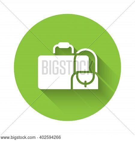 White Suitcase For Travel Icon Isolated With Long Shadow. Traveling Baggage Sign. Travel Luggage Ico