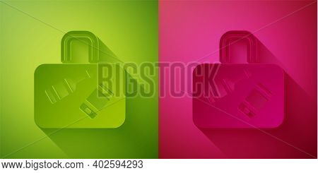 Paper Cut Suitcase For Travel Icon Isolated On Green And Pink Background. Traveling Baggage Sign. Tr