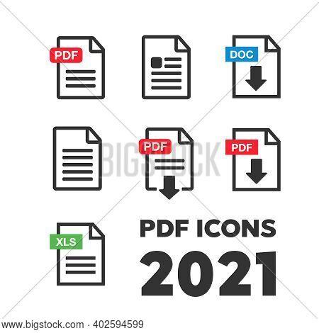 File Icons. File Icons Line Style Illustration. Document Icon Set