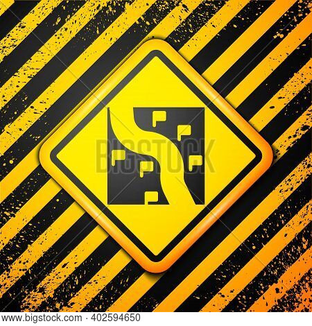 Black Route Location Icon Isolated On Yellow Background. Train Line Path Of Train Road Route With St
