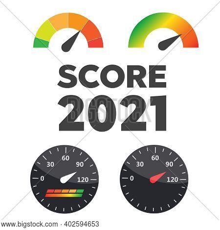 Set Of Credit Score Value. Score Good Indicator