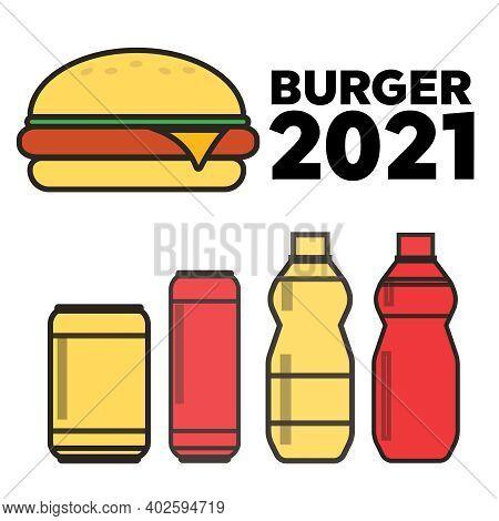 Junk Food Icon. Breakfast Background Burger Vector. Junk Food Vector Illustration