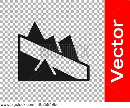 Black Mountain Descent Icon Isolated On Transparent Background. Symbol Of Victory Or Success Concept