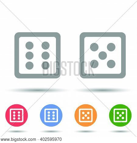 Two Dice Icon Vector Illustrator Isolated On White Background