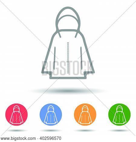 Hooded Jacket Parka Icon Vector Illustrator Isolated On White Background