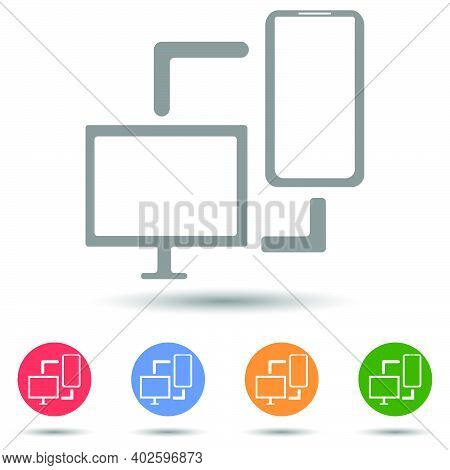 Synchronization  Pc Mobile Phone Transfer Vector Icon