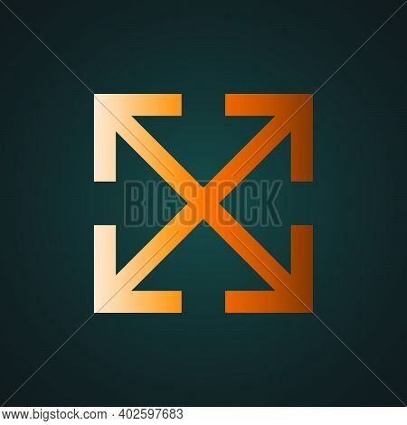Maximize, Arrow Vector. Gradient Gold Concept With Dark Background