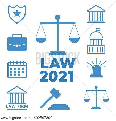 Lawyer Concept. Lawyer Icons In Flat Style. Law Police Flat Vector Illustration