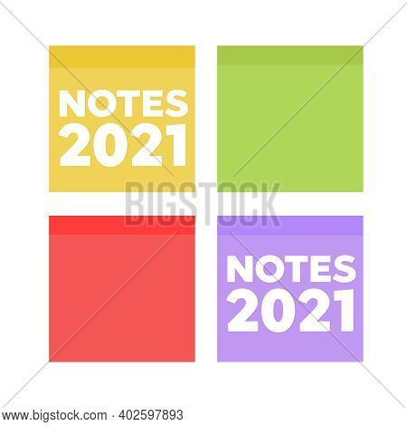 Multicolor Notes Post It. Colored Sticky Note Set. Multicolor Post It Notes Isolated