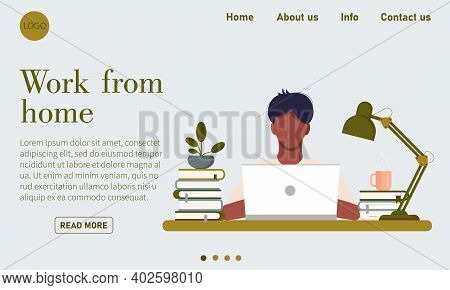Web Page Template With Young Man Working At Home. Freelance, Work At Home, Online Job And Home Offic