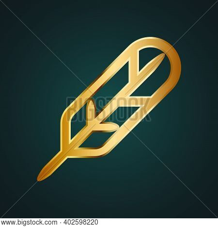 Quill Pen Vector Icon. Gold Metal With Dark Background