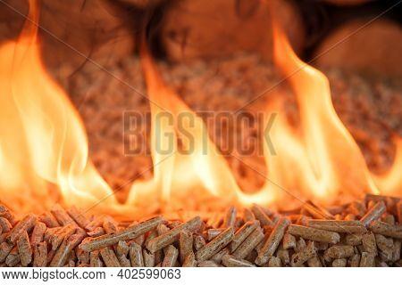 Pile Of Wood Pellets, Burning In Flames