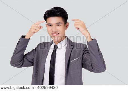 Portrait Young Asian Business Man In Suit With Smart Thinking Idea With Intelligent Isolated On Whit