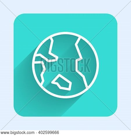 White Line Earth Globe Icon Isolated With Long Shadow. World Or Earth Sign. Global Internet Symbol.