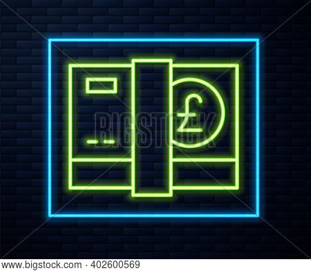 Glowing Neon Line Pound Sterling Money Icon Isolated On Brick Wall Background. Pound Gbp Currency Sy