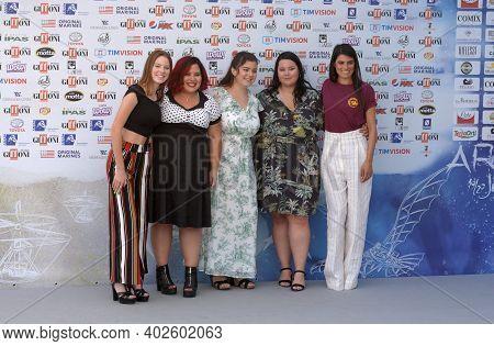 Giffoni Valle Piana, Sa, Italy - July 23, 2019 : Cast Movie : Dolcissime, Giulia Barbuto,valeria Sol