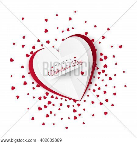 Valentine Card With Confetti On Background. Romantic Decoration Element For Valentines Day Or Womens