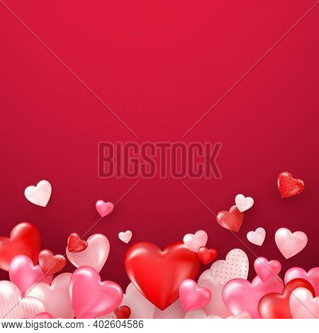 Bright Valentine`s Day Or Mother`s Day Background. Groupe Of Glossy Red Hearts. Vector