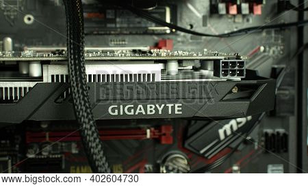 Moscow, Russia - 5 December 2020: Geforce Gtx Gigabyte Gpu Graphic Card In Pci Express Of Motherboar