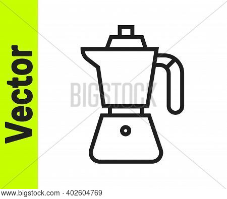 Black Line Coffee Maker Moca Pot Icon Isolated On White Background. Vector