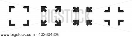 Full Size Screen Icon Vector Widener Symbol, Maximize And Minimize Graphic Arrows Isolated Interface