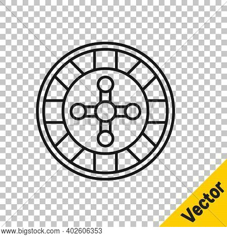 Black Line Casino Roulette Wheel Icon Isolated On Transparent Background. Vector