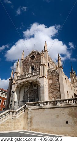 Low Angle View Of San Jeronimo El Real Cathedral In Madrid, Spain. Front View Of Cathedral During A