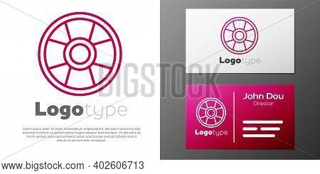 Logotype Line Casino Chip Icon Isolated On White Background. Casino Gambling. Logo Design Template E