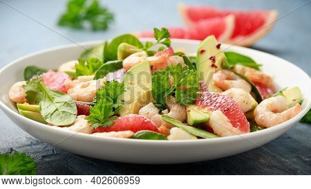 Fresh Avocado Grapefruit Shrimp Salad In White Plate