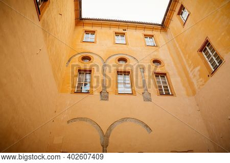 Podebrady Castle At River Labe, View From Inner Courtyard Side, Gothic Portal, Historical Spa Town,