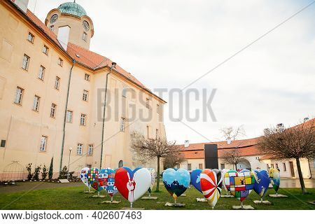 Exhibition Of Hearts With Images Of Eu Countries, Podebrady Castle At River Labe, View From Inner Co