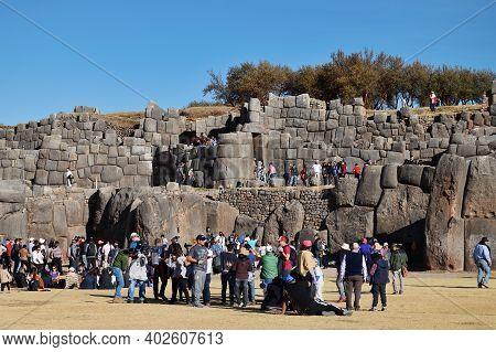 Cusco, Peru  - September 05, 2016: Unidentified People At Ruins Of Saksaywaman Citadel, Cusco, Peru.