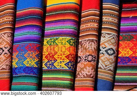 Different Colorful Fabric At Market In Peru, South America