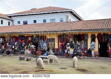 Cusco, Peru  - August 31, 2016: Colourful Goods For Sale In Souvenir Shop At Cusco, Peru On August 3