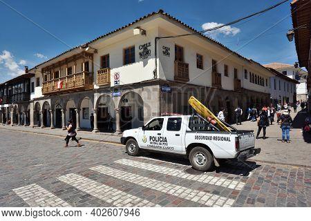 Cusco, Peru  - September 05, 2016: Unidentified People At Street Of Cusco, Peru.
