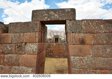 Inca Gate In The Urban Sector Of Pisac. Pisac Is A Peruvian Village In The Sacred Valley Of The Inca