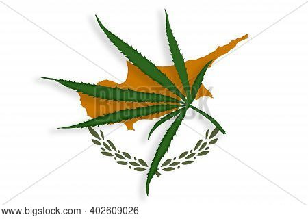Cyprus Flag With The Image Of Marijuana Leaves. Cannabis Legalization Concept In Cyprus. Drug Policy
