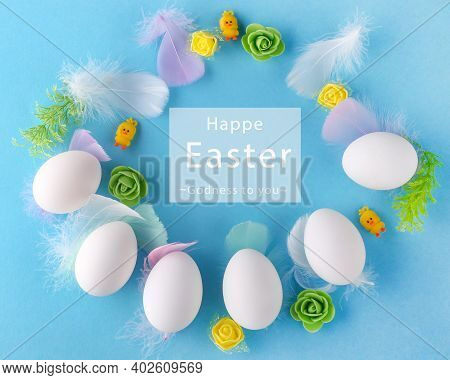 Easter Background With Easter Eggs And Decor On Blue Backdrop. Promotion And Shopping Template For E