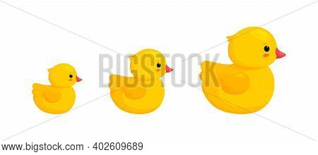 Rubber Duck Family With Two Ducklings Isolated In White Background. Side View Of Yellow Plastic Toys