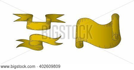 Parchment Scrolls And Sripes. Set Of Horizontal Paper Parchments And Ribbons Isolated In White Backg