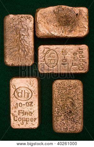 Pure Copper Bullion Bars - Ingots