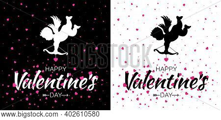 Cupid Silhouette With Bow And Arrow And Pink Hearts. Valentines Day Card. Flying Angel With Purple H