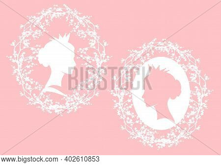 Elegant Queen Or Princess Wearing Crown Among Sakura Blossom Branches - Royal Head Portrait Vector D