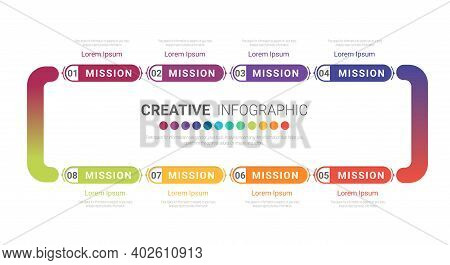 Timeline Design Template With Numbers 8 Option For Presentation Infographic, Timeline Infographics,
