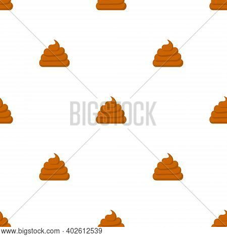 Seamless Pattern Poop Icons. Vector Cartoon Feces Elements Illustration Isolated.