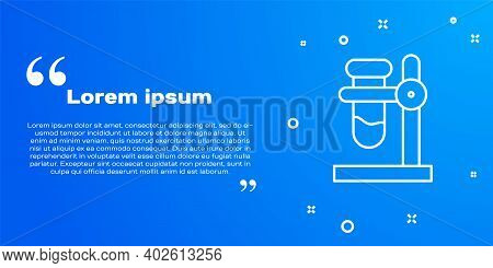 White Line Glass Test Tube Flask On Stand Icon Isolated On Blue Background. Laboratory Equipment. Ve