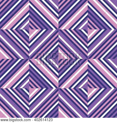 Background Geometric Abstract Design In Violet, Lilac, Pink Colors. Abstract Seamless Pattern. Diago