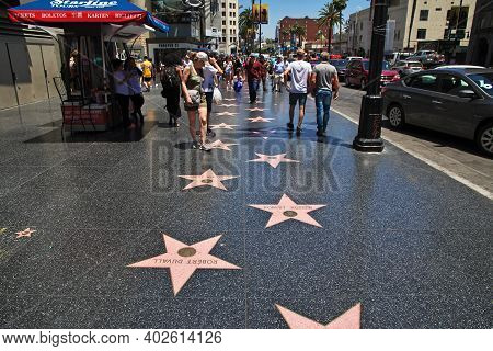 Los Angeles, United States - 15 Jul 2017: Alley Of Stars In Hollywood, Los Angeles, California, Usa