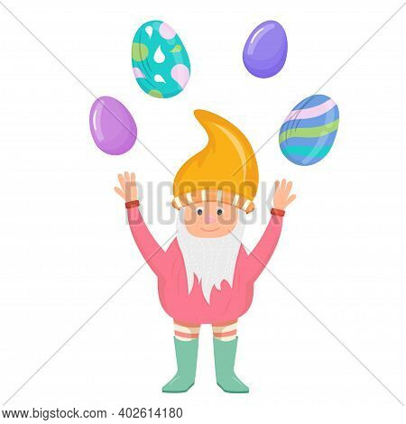 Dwarf With Easter Eggs In Cartoon Style Isolated On A White Background. Spring Festival With Colorfu