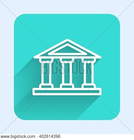 White Line Courthouse Building Icon Isolated With Long Shadow. Building Bank Or Museum. Green Square